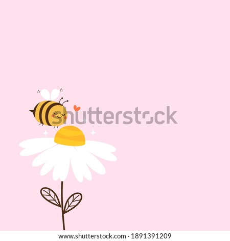 Daisy flower with cute bee cartoon and heart isolated on white background vector illustration.  Foto stock ©
