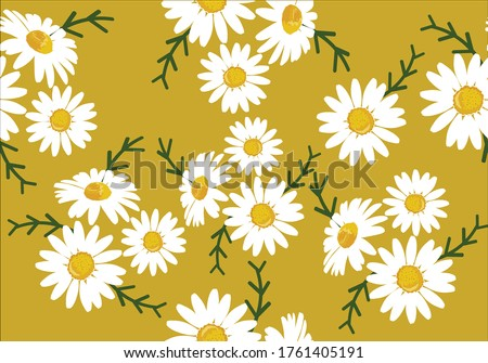 daisy pattern hand drawn design ditsy flower design springy vector fabric towel  pattern summer print  ditsy flower  stationery,towel,linens,sationery repeat pattern