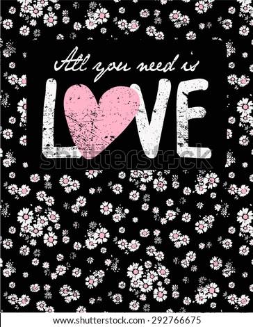 daisy vintage print and slogan