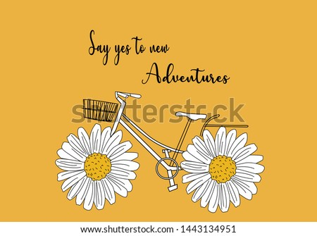 daisy with quotes and bicycle design vector ditsy flower summer sunflower,stationary,spring,bike,pattern,fashion,style,leopard,card,mug design,decorative,spring,margarita rose,