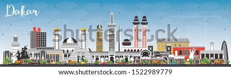 Dakar Senegal City Skyline with Color Buildings and Blue Sky. Vector Illustration. Business Travel and Concept with Historic Architecture. Dakar Cityscape with Landmarks.