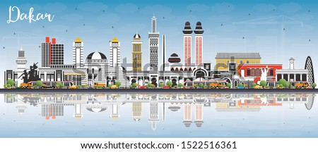 Dakar Senegal City Skyline with Color Buildings, Blue Sky and Reflections. Vector Illustration. Business Travel and Concept with Historic Architecture. Dakar Cityscape with Landmarks.