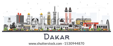 Dakar Senegal City Skyline with Color Buildings Isolated on White. Vector Illustration. Business Travel and Concept with Historic Architecture. Dakar Cityscape with Landmarks.