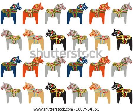 Dala horse Swedish folk art pattern background.  Photo stock ©