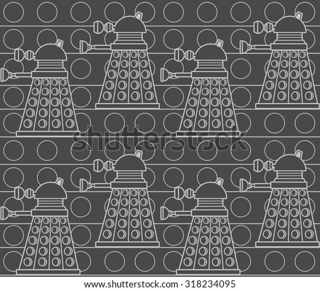 daleks on dowel wall