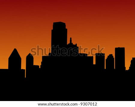 Dallas Skyline at sunset with beautiful sky illustration