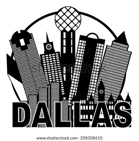 Dallas Skyline Black Outline 113
