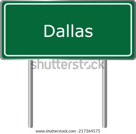 dallas  texas  road sign green