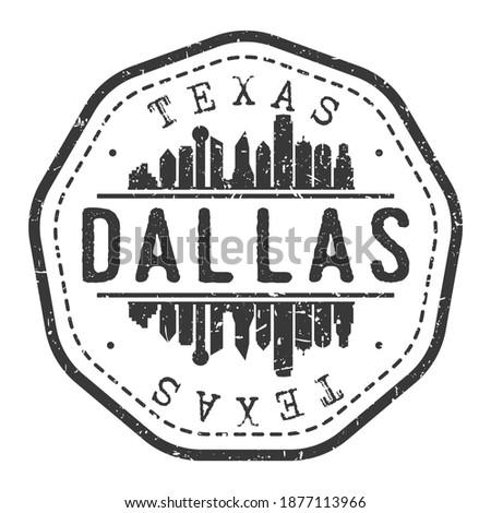 Dallas, TX, USA Stamp Skyline Postmark. Silhouette Postal Passport. City Round Vector Icon. Vintage Postage Design. Foto stock ©