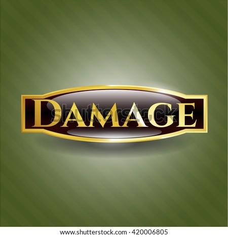 Damage golden badge or emblem