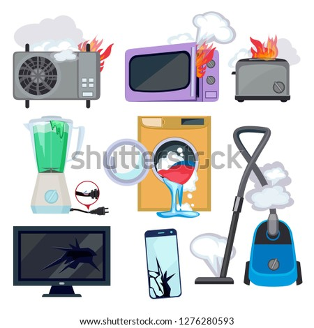 Damaged appliance. Broken household equipment fire stove microwave washing machine repair laptop computer vector