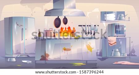 damaged kitchen in restaurant