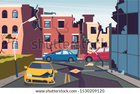 Damaged urban landscape. Nature cataclysm city destroyed quake urbanization problems cracked ground roads vector picture