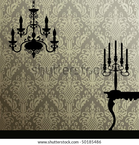 Damask and retro interior