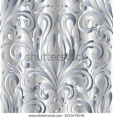 damask baroque silver 3d