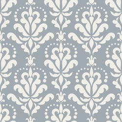 Damask beautiful background with rich, old style, luxury ornamentation, blue fashioned seamless pattern, royal vector wallpaper, floral wrapping paper, swatch fabric for decoration and design