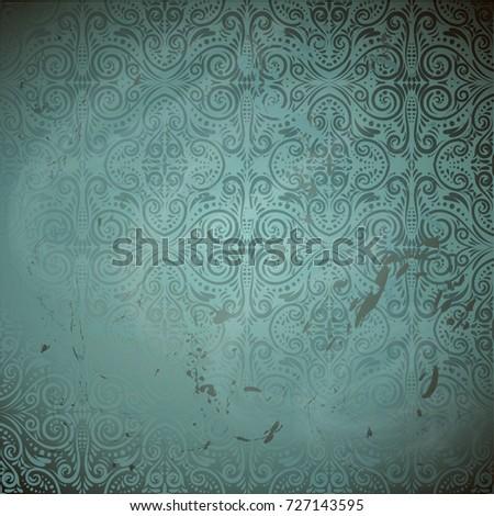 Damask classic  aquamarine grunge background.