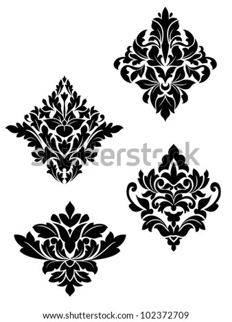 Damask flower patterns for design and ornate isolated on white. Jpeg version also available in gallery