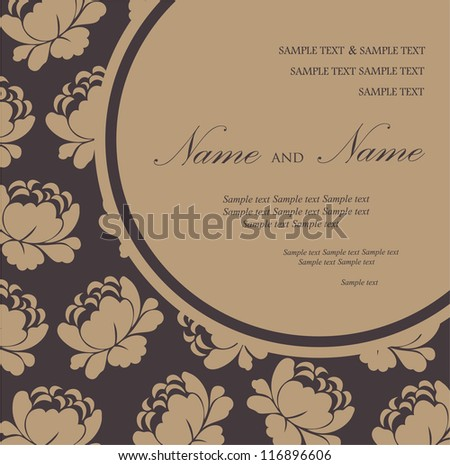 Damask invitation floral card