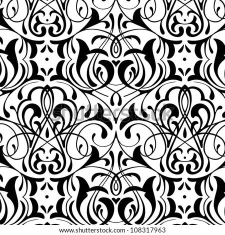 damask seamless black and white background