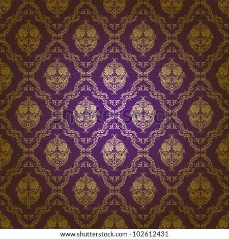Damask seamless floral pattern. Gold flowers on a purple background. EPS 10