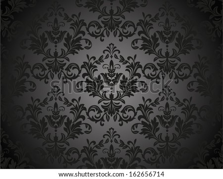 Damask seamless floral pattern. Royal wallpaper. Flowers on a black background.