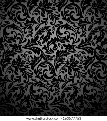 Black And White Flower Print Background Flowers on a Black Background