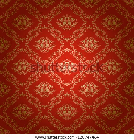 Damask seamless floral pattern. Royal wallpaper. Flowers on a bright background. EPS 10