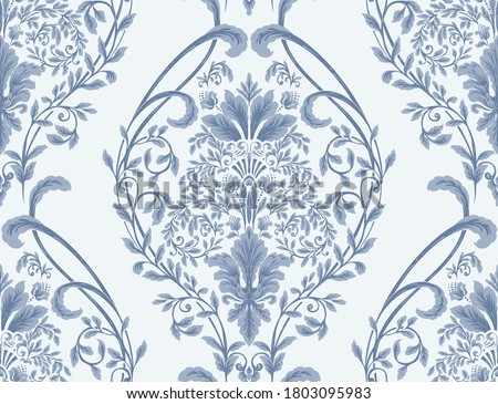 Damask seamless pattern element. Vector classical luxury old fashioned damask ornament, royal victorian seamless texture for wallpapers, textile, wrapping. Vintage exquisite floral baroque template. Сток-фото ©