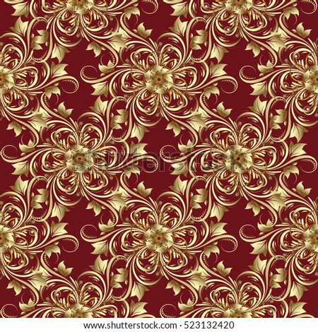 damask seamless pattern floral background flowery wallpaper gold