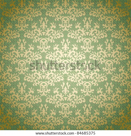 Damask seamless pattern on gradient background stylized like textile. Could be used as repeating wallpaper, textile, wrapping paper, background, etc
