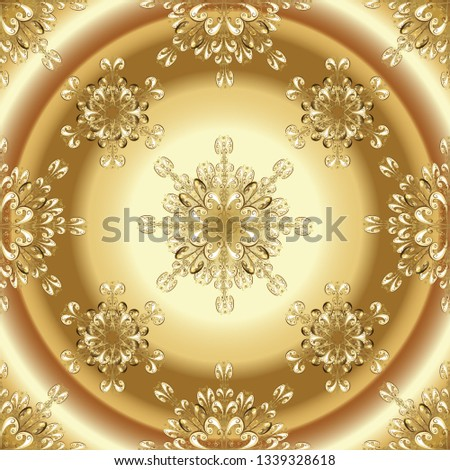 stock-vector-damask-seamless-repeating-background-gold-wallpaper-on-texture-background-golden-element-on-brown