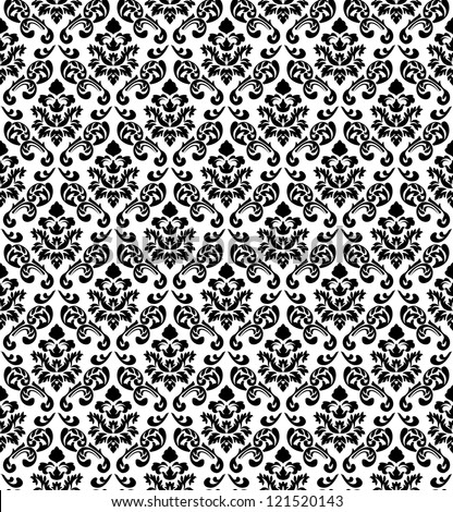 Damask Seamless Vector Pattern in Black and White colors.  Elegant Design in Royal  Baroque Style Background Texture. Floral and Swirl Element.  Ideal for Textile Print and Wallpapers.