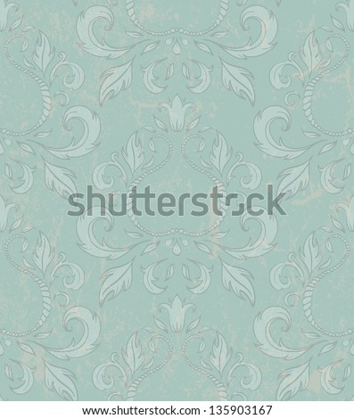 Damask seamless wallpaper with grunge effect. EPS 10 vector illustration.