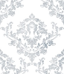 Damask texture pattern Vector. Luxury wallpaper ornament decor. Baroque Textile, fabric, tiles. Gray colors
