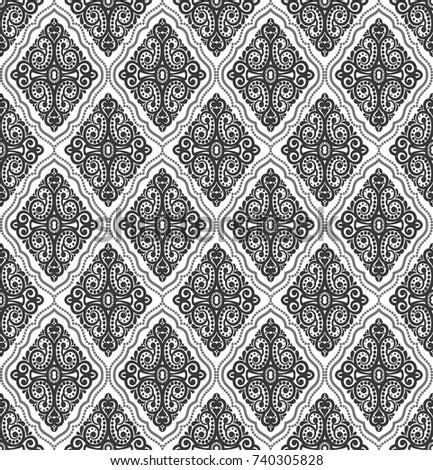 Damask vintage floral seamless pattern background, vector illustration.