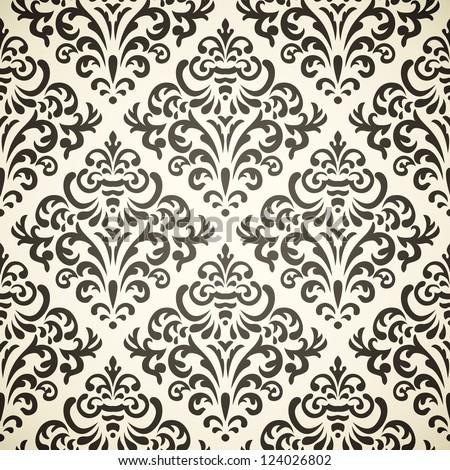 Damask vintage seamless pattern on beige background