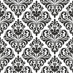 Damask wallpaper, black and white seamless pattern