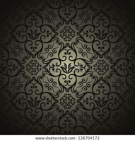 Damask wallpaper, black design