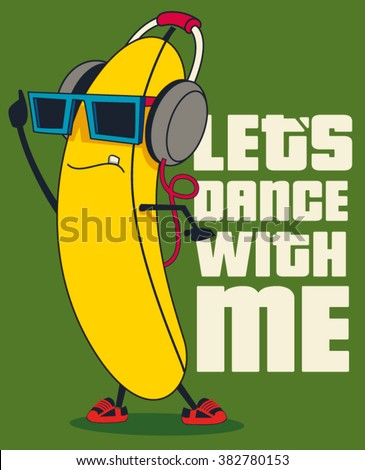 dance and cartoon banana vector