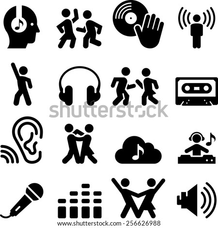 dance and music icons vector