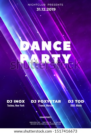 Dance club party poster vector background template with particles, lines, highlight and modern geometric shapes. Club night party flyer abstract background. Abstract crystal in a space nebula.