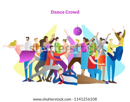 Stock Photo Dance crowd vector illustration. Adult friends and couples enjoying life, club, celebration, discotheque, party and active entertainment. Colorful, modern and casual youth style in light of disco.