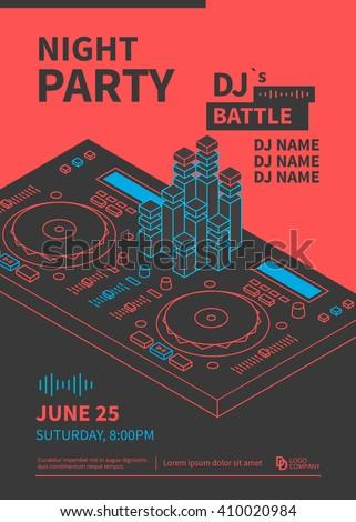 Dance night party design poster. Dj battle show. Dj console line illustration. Vector
