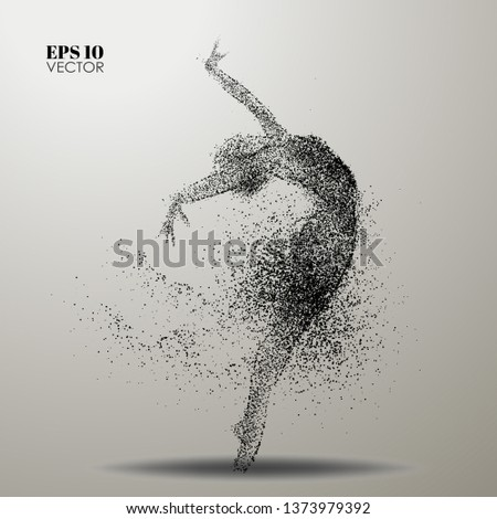 Dance of the particles.Ballet dancer girl consists of dots and circles Stockfoto ©