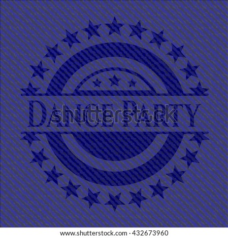 Dance Party badge with denim background