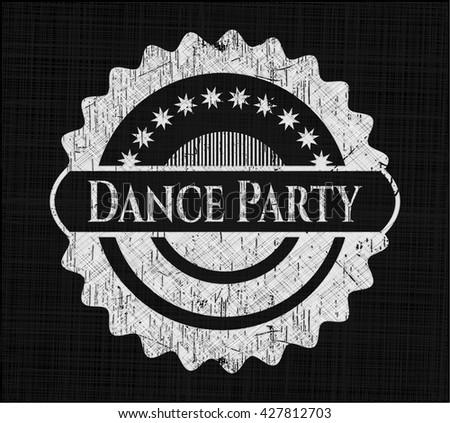 Dance Party chalk emblem written on a blackboard