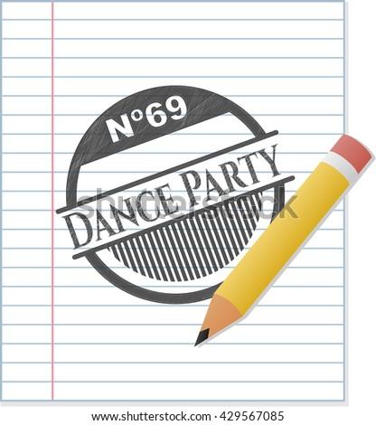 Dance Party emblem with pencil effect
