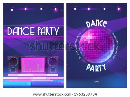 Dance party flyers with disco ball and dj music console. Posters of night club event with discotheque. Vector cartoon illustration of sound speakers and dance floor in pink neon light Stockfoto ©