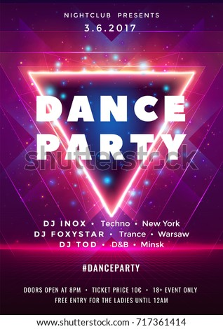 Dance party poster vector background template with particles, lines, highlight and modern geometric shapes in pink and blue colors. Music event flyer or banner abstract